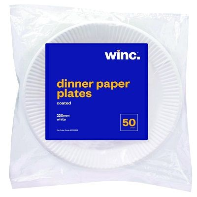 WINC Round Paper Dinner Plate Coated 230mm
